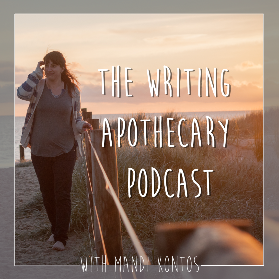 girl walking on the beach with the writing apothecary words next to her