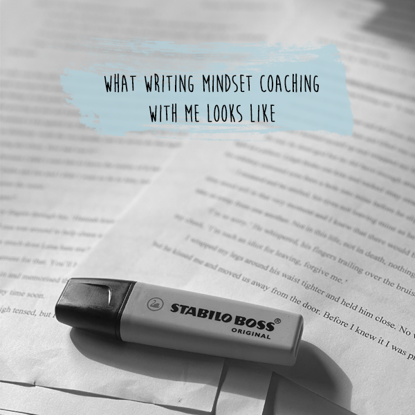 a highlighter on written pages with the title of what is writing mindest coachin